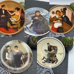 Norman Rockwell 5 Collector's Plates bundle